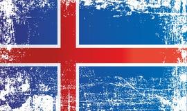 flagga iceland Rynkiga smutsiga fläckar royaltyfri illustrationer
