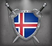 flagga iceland Skölden med nationsflaggan Två korsade Swor stock illustrationer