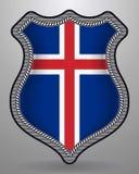 flagga iceland Vektoremblem och symbol stock illustrationer