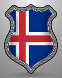 flagga iceland Vektoremblem och symbol royaltyfri illustrationer