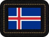 flagga iceland Vektorsymbol på den svarta läderbakgrunden stock illustrationer