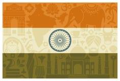 flagga india vektor illustrationer