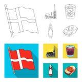 Flagga, medborgare, symbol och annan rengöringsduksymbol i översikten, lägenhetstil Danmark historia, turism, symboler i uppsättn vektor illustrationer