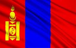 flagga mongolia vektor illustrationer