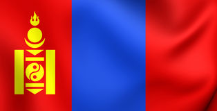 flagga mongolia royaltyfri illustrationer