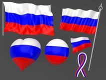 flagga moscow symboliska nationella russia Royaltyfri Bild