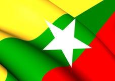 flagga myanmar royaltyfri illustrationer
