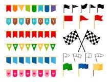 Flagga och girlander för inbjudankort royaltyfri illustrationer