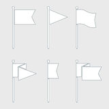 Flagga Pin Vector Flat Icon Set Vektor Illustrationer