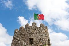 Flagga Portugal i slotten Royaltyfri Fotografi