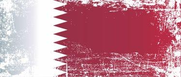 flagga qatar Rynkiga smutsiga fläckar royaltyfri illustrationer