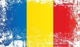 flagga romania Rynkiga smutsiga fläckar royaltyfri illustrationer