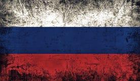 flagga russia Patriotisk gammal grungetappning överdrar texturbakgrund stock illustrationer