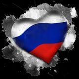 flagga russia Vattenfärg på svart bakgrund royaltyfri illustrationer