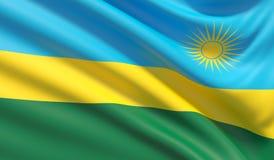 flagga rwanda Vinkad h?gt detaljerad tygtextur illustration 3d royaltyfri illustrationer