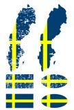 flagga set sweden Arkivbilder
