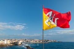 flagga sicily Fotografering för Bildbyråer