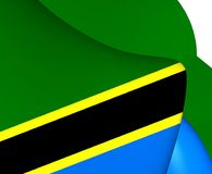 flagga tanzania royaltyfri illustrationer