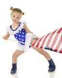 Flagga-vinkande förskolebarn Arkivfoto