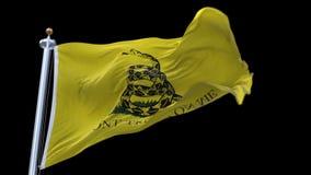 flaggaanimeringen för 4k A av den Gadsden flaggan kallade ibland tebjudningflaggan arkivfilmer