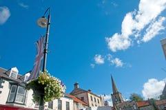 Flaggablommor och stad Royaltyfria Foton