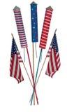 flaggafjärde juli skyrockets arkivbild