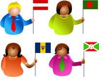 flaggafolk stock illustrationer