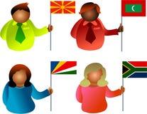 flaggafolk royaltyfri illustrationer