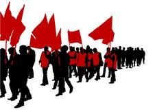 Flaggafolkmassor två Fotografering för Bildbyråer