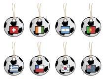 flaggafotbolletiketter royaltyfri illustrationer