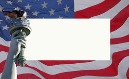 flaggafrihetstaty USA royaltyfri fotografi