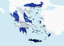 flaggagreece översikt 3D som framför den Grekland översikten och flaggan Det nationella symbolet av Grekland Nationellt vinkande  vektor illustrationer