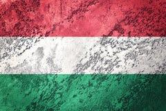 flaggagrunge hungary Ungersk flagga med grungetextur stock illustrationer