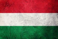 flaggagrunge hungary Ungersk flagga med grungetextur Royaltyfri Fotografi