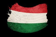 flaggagrunge hungary Ungersk flagga med grungetextur Borste s stock illustrationer