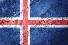 flaggagrunge iceland Island flagga med grungetextur vektor illustrationer