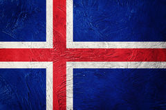 flaggagrunge iceland Island flagga med grungetextur royaltyfri bild