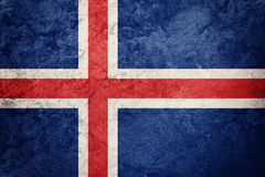 flaggagrunge iceland Island flagga med grungetextur Arkivfoton