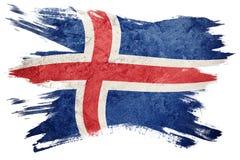 flaggagrunge iceland Island flagga med grungetextur Borstestr stock illustrationer