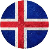 flaggagrunge iceland Island knappflagga som isoleras på vit backg stock illustrationer