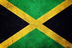 flaggagrunge jamaica Jamaica flagga med grungetextur Royaltyfri Fotografi