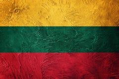flaggagrunge lithuania Litauisk flagga med grungetextur Royaltyfri Bild