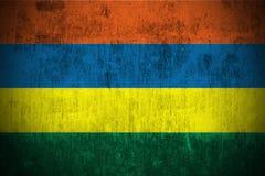 flaggagrunge mauritius royaltyfri illustrationer