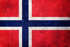 flaggagrunge norway Norge flagga med grungetextur Royaltyfri Bild