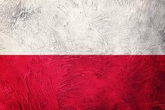 flaggagrunge poland Polen flagga med grungetextur Royaltyfria Bilder