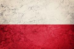 flaggagrunge poland Polen flagga med grungetextur Royaltyfri Fotografi