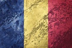 flaggagrunge romania Rumänsk flagga med grungetextur Arkivfoto