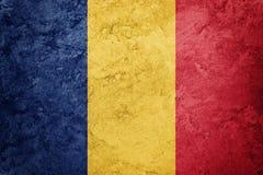 flaggagrunge romania Rumänsk flagga med grungetextur Arkivbild