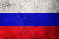 flaggagrunge russia Rysk flagga med grungetextur Royaltyfri Foto
