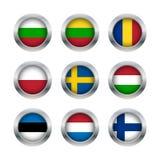 Flaggaknappuppsättning 3 Fotografering för Bildbyråer